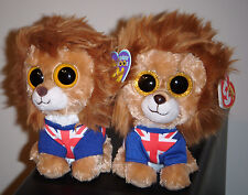 Ty Beanie Boos Set ~ HERO (Solid Eyes & Glitter Eyes) UK Exclusive Lions ~ NEW