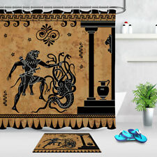 Anciet Greek Myth Black Figure Pottery Fabric Shower Curtain Set Bathroom Decor
