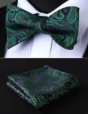 Green Pailey Bowtie Men Silk Self Bow Tie Handkerchief Set Wedding#BP710GS