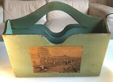 Antique/Vintage Wooden Horse Racing Magazine Rack Distressed/Shabby Green