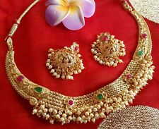 Ethnic South Indian Style Kemp Pearl Gold Plated Imitation Choker Earrings Set