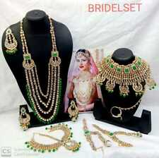 Indian Pearl Gold Tone Kundan Necklace Set Choker Bridal Jewellery Combo Set