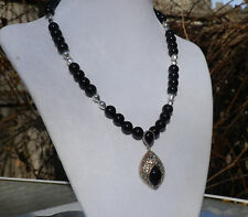 """16"""" Handmade Black Onyx Necklace with Sterling Silver Black Onyx Pendant"""