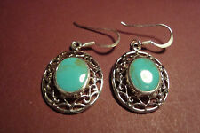 Genuine Indian 925 Silver & Gemstone Cabochon  Earrings~Turquoise~S83~uk seller
