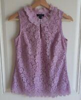 J Crew Womens Vivid Lilac Floral Lace Ruffle Neck Top Shirt Blouse Size XXS 2XS