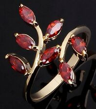 New Percious Size 6 Bridal Garnet 18K Gold Filled Womens Engagement Rings Halo