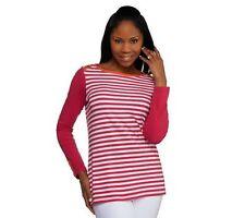 Susan Graver Weekend Striped Stretch Cotton Top w/ Button Detail Size S QVC $38