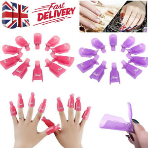 10x Plastic Nail Soak Off UV Gel Cleaner Art Polish Remover Wrap Finger Clip Cap
