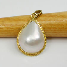 Teardrop 17x14mm Mabe Pearl Pendant Genuine 750 18k 18ct Yellow Gold, 18MPT07