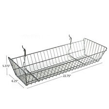Chrome Slanted Wire Basket in Silver Finish 24.25W x 10D Inches - Count of 2