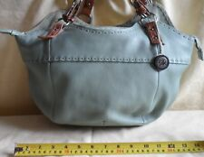 The Sak Leather Aqua Blue Bag with fun patterned lining