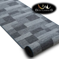 Modern HALL Runner Rugs 'ICONA' grey NON-slip Stairs Width 67-120cm extra long