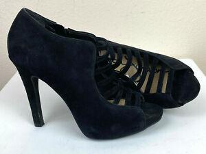 Jessica Simpson PLatform High Heel Bootie 7M Black Suede Peep Toe New $129
