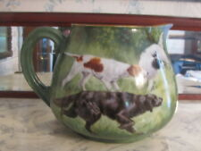 Antique Limoges T & V Hand Painted Porcelain Water Pitcher with Setter Pointer