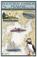 Boothbay Harbor Maine Nautical Chart, Puffin Lighthouse ME - Modern Map Postcard