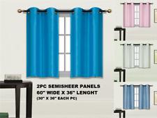 "2pc LIGHT FILTERING SMALL SHORT HALF WINDOW CURTAIN GROMMET PANELS 30""WX36""L N25"