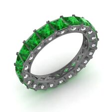Certified 3.94 Ctw Princess Emerald & Diamond Eternity Band Ring 10k Black Gold