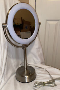 Zadro Ultra Bright LED Lighted Dual Sided Vanity Beauty Makeup Mirror Nickel