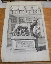 c1670 Antique JOAN BLAEU Print/CAPITOLINE WOLF with ROMULUS & REMUS/ROME, ITALY