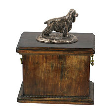 madera maciza Ataúd Inglés Cocker Spaniel Urna para de perro ashes , con Estatua