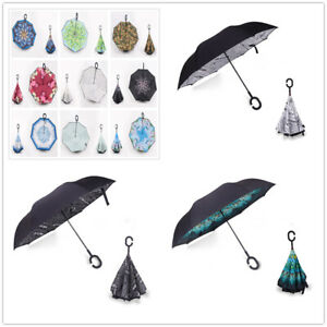 Upside Down Reverse Fold Umbrella Double Layer C-Handle Floral Windproof Parasol