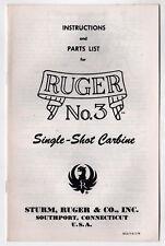 1976 RUGER Single Shot Carbine INSTRUCTION MANUAL Guns GUN Sturm FIREARMS