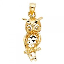 14K Yellow Gold Owl Pendant GJPT1646