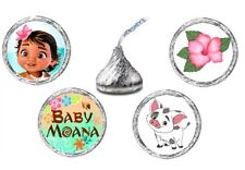 216 (54 ea of 4) BABY MOANA BIRTHDAY Kisses Kiss Labels Stickers Favors