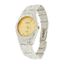 """925 Sterling Silver Nugget Wrist Watch with Geneve Watch 8"""" Graduated Band 48g"""