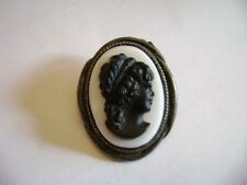 cameo brooch/Pin sterling ? carved  jet ? very old  1930 's has a makers mark