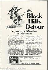 1930 Burlington Route advertisement, BLACK HILLS DETOUR, CB&Q RR