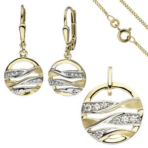 Jewelry Set 333 Yellow Gold with Zirconia Earrings and Chain 42 CM