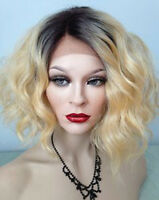 Ombre Blonde Human Hair Wigs 1BT#613 Full Lace Human Hair Wig Pre Plucked Virgin