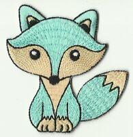 ECUSSON PATCHE PATCH  THERMOCOLLANT ENFANT RENARD FOX TURQUOISE 7,5 X 7,5CM