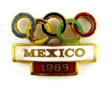OLD OLYMPIC PIN MEXICO 1968 ORIGINAL EMAMELED GILT PIN BADGE OLYMPICS RINGS