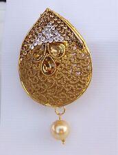 All Occasion Gold Tone /Cz Stone b9 Indian Designer Saree Pin / Sari pin /Brooch