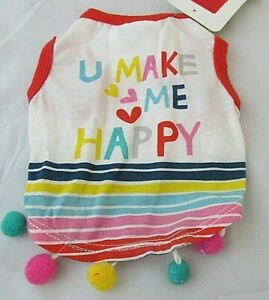 Top Paw Size XS S Dog Colorful Shirt U Make Me Happy NWT White Red Pink Trim