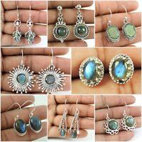 Natural Blue Labradorite Gemstone Earring 925 Sterling Silver Handmade Jewelry