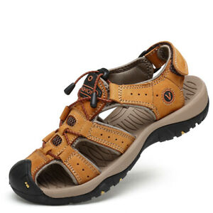 Men's Outdoor Closed Toe Hiking Leather Sandals Summer Camping Fisherman Shoes