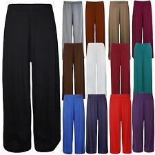 New Ladies Plus Size Wide Leg Bottoms Flared Pants Plain Palazzos Trousers 12-30