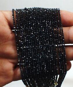 Schwarz Spinell Natürlich Facettiert Perlen Stränge Exzellent Glänzend Kette 45