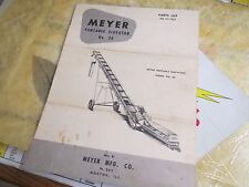 Meyer Portable Elevator No. 20. Parts List No P111455
