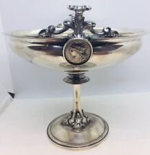 Antique Aesthetic Coin Silver Medallion Faces Centerpiece Bowl Compote
