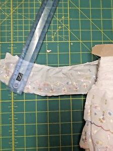 Gathered Cotton Broderie Anglaise Lace With Embroidery in Pastel Colours