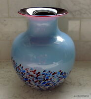 "Zwiesel Glaskirm Blue & Brown Bubble Glass Vase 8"" High"