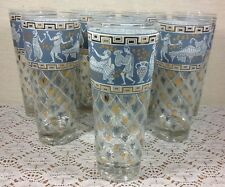 Cera Mid Century Etruscan Frieze Corinthian Blue Iced Tea Glasses Set of 8