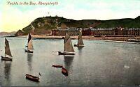 Yachts In The Bay Aberystwyth postcard antique sea coastal landscape Wales