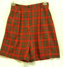 Vtg 80s 90s Norton McNaughton Sz 12 Tartan Plaid Shorts Lined Wool Blend Red