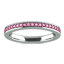 1.38 Ct Pink Sapphire Gemstone Diamond Ring 14kt White Gold Rings Size N 1/2 P O