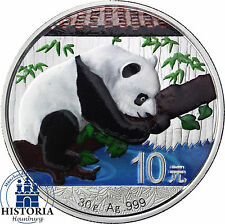 China Panda 2016 Silber 10 Yuan Silbermünze in Münzkapsel  in Farbe